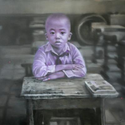 Autoportrait-sur-table,-huile-sur-toile--,180x200cm